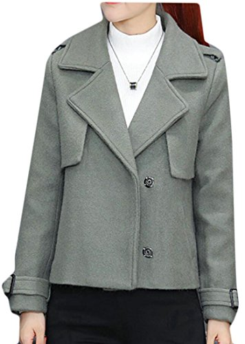 M Lapel Coat Jacket Womens Woolen Outerwear amp;S 2 Sleeve Long Short amp;W Warm xzrzngU