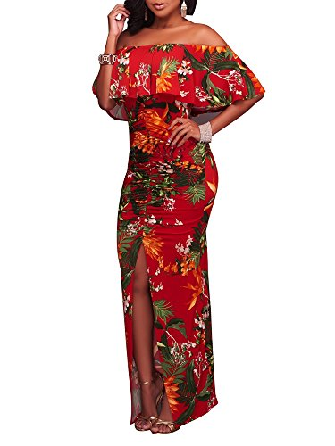 (FairBeauty Women Summer Sexy Casual Split Floral Print Strapless Bodycon Cocktail Party Long Maxi)