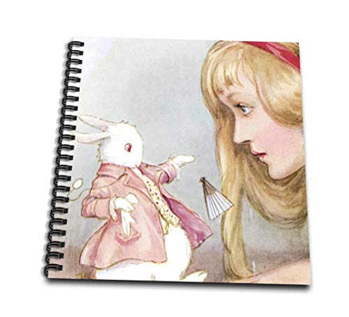 3dRose db_164585_1 Alice in Wonderland with Rabbit Vintage Art-Drawing Book, 8 by 8-Inch