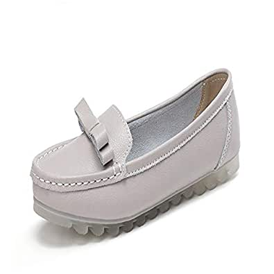 lcky Comfortable Women's Shoes Non-Slip Flat Shoes Casual Walking Shoes Loafers(Grey 35/4 B(M) US Women)