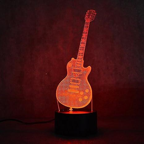 3d Guitarra eléctrica óptica de Illusions lámpara, la 7 Cambio de color acrílico Tocar Tabla de escritorio Luz nocturna con cable USB para niños Dormitorio ...