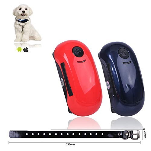 (HUAXING Mini Waterproof Tracker,1000Mah Long Standby Time Dog Cat Pet Animal GPS Tracker Dual Positioning Android iOS APP.)