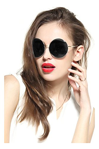 Gee-Look Oversized Round Circle Mirrored Hippie Hipster Sunglasses - Metal Frame (Chien Ash, as - Reyban Sunglass
