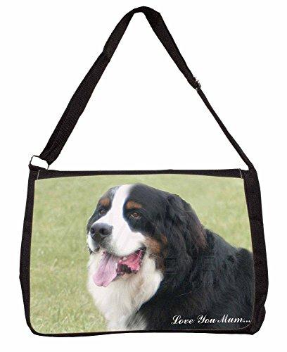 Bernese Mountain Dog Love You Mum Large 16 Black School Laptop Shoulder Bag