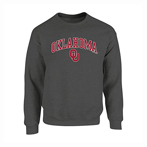 Elite Fan Shop NCAA Men's Oklahoma Sooners Crewneck Sweatshirt Dark Heather Arch Oklahoma Sooners Dark Heather - Oklahoma Sweatshirt Crew