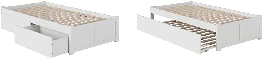 Atlantic Furniture Concord Platform 2 Urban Bed Drawers, Twin, White & Concord Platform Flat Panel Foot Board and Twin Size Urban Trundle Bed, White