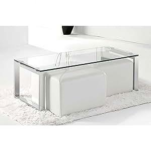 Adec - Mesa de centro benetto cristal, medidas 50 x 110 cm, color acero