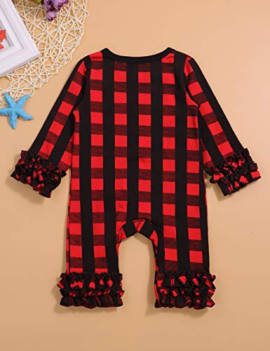 837d98583d11 New Years Dress Newborn Baby Girl Clothes Outfit Red Plaid Romper Winter  Bodysuit Playsuit