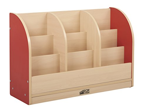 ECR4Kids Colorful Essentials Single-Sided Book Display Cabinet - Toddler - Maple/Red
