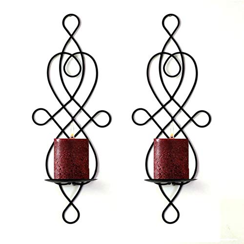 Sziqiqi 2 Pcs/Set Wall Candle Sconces, Metal Elegant Pillar Candle Holder, Hanging Wall Candleholders, Wedding/Party/Dinning Room Candlelight Decor (Candle Holder 4#) (Candle Hanging Sconces)