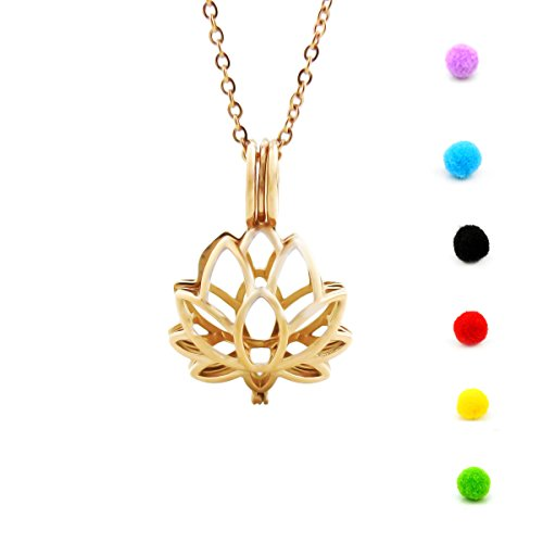 Lotus Diffuser Necklace Essential Oil Pendant Locket Stainless Steel Jewelry with 15 pompom (Rose Gold)