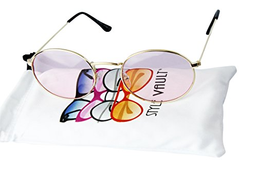 V3123-vp Vintage Style Oval Round 90s Retro Metal Small Lens Sunglasses (C059 Gold-candy Pink, UV400)