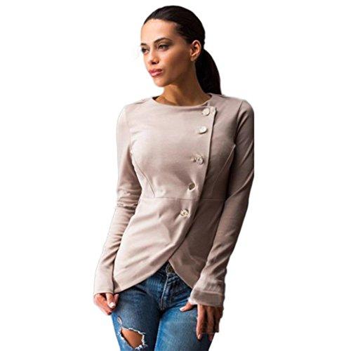 Women's Cotton Coat,Hemlock Slim Button Casual Blazer Suit Lady Jacket Outwear (XL, Khaki)