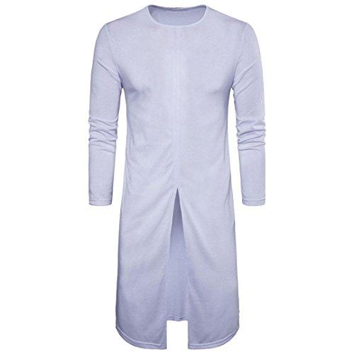 YANG-YI Fashion Men Long Sleeve Size Extended Casual Hip Hop Music T-Shirt Street Wear (2XL, White)