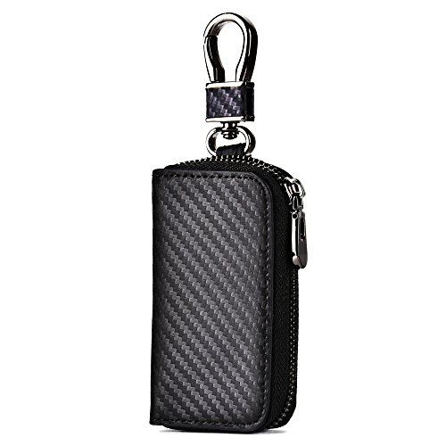 Keychain Case Bag (Spiex Car Key Case, Car Key Chain Wallet for Universal Vehicle, Metal Hook & Key Ring Zipper Case for Remote Key Fob)