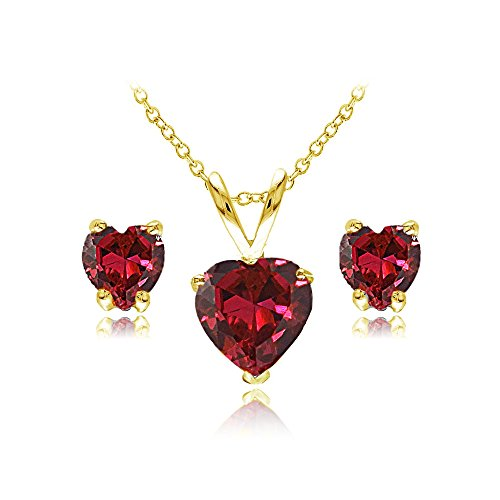 Ruby Red Flashed - Yellow Gold Flashed Sterling Silver Created Ruby Heart Solitaire Necklace and Stud Earrings Set