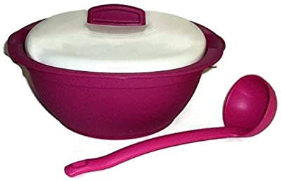 Tupperware Legacy Covered Soup Tureen Serving Dish w/ Spoon Fuchsia Pink