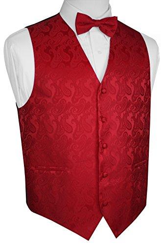 Brand Q Men's Paisley Vest Bow-Tie Set-Red -