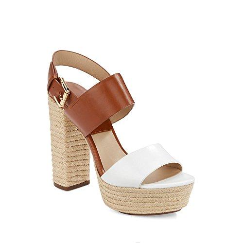 Michael Kors Women's Summer Optic White/Luggage Smooth Calf/Jute Sandal