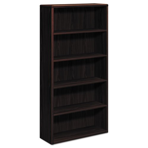 HON 10700 Series Wood Bookcase  - Bookcase with Five Shelves, 36w x 13 1/8d x 71h, Mahogany (H10755) (Hon Laminate Wood 10700 Series)
