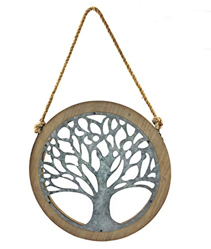 Bellaa 23905 Tree of Life Wood Metal Wall Art 24