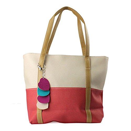 Maxry(TM)1PC Women's Combo Contrast Color Heart Pendants Hobo Shoulder Bag (Heart Hobo)