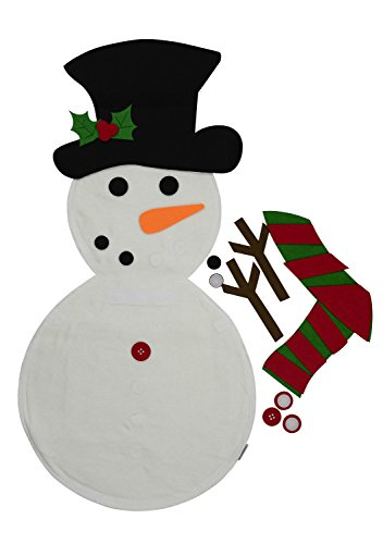 Snowman Christmas Decoration. Life size Indoor Felt Snowman Kit for Kids -Wall hanging with stick-on decorations