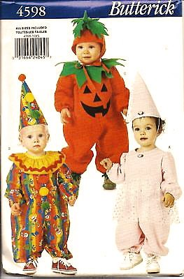 Butterick 4598 Baby Infant Princess Pumpkin Clown Costumes Sewing Pattern Size S to Xl (13 Lb to 32 Lb) -
