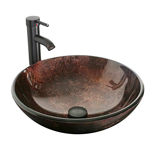 """eclife 16.5"""" Bathroom Modern Artistic Vessel Sink Combo Modern Round Tempered Glass Basin Oil Rubbed Bronze 1.5 GPM Water Save Faucet Pop Up Drain A09 (Round Brown)"""