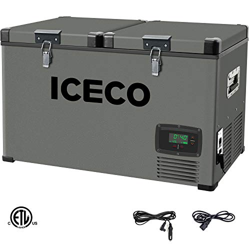 ICECO VL60 Portable Refrigerator Fridge Freezer Car Refrigerator with SECOP Compressor, 63 Quarts/60 Liters Platinum Compact Refrigerator, DC 12/24V, AC 110-240V, 0℉ to 50℉, Home & Car Use, for RV, Truck, Boat, Van