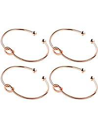 Love Knot Bangle Bracelet Simple Cuffs Bracelet for Women Girls Stretch Bracelets - Set of 4