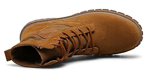 Santimon Herren Desert Stiefel Stiefeletten Nubukleder Schnüren Outdoor Wasserdicht Outdoor Martin Schuhe schwar Braun Gelb Gelb