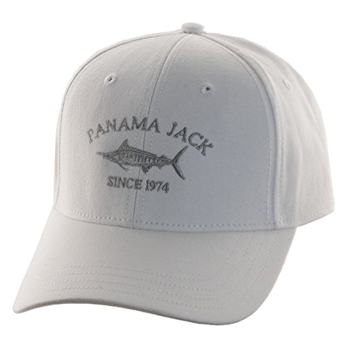 "Panama Jack Since 1974 Marlin Baseball Sun Hat Cap, 3"" Brim Bill, Adjustable Tuck Strap w/Slide Closure (White, One Size Fits Most)"