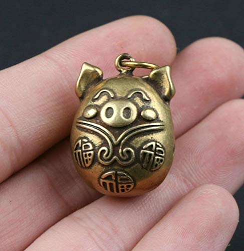 DEBRICKS 27 MM Collect Curio China Bronze Lovable Animal Lucky Pig Small Bell Pendant
