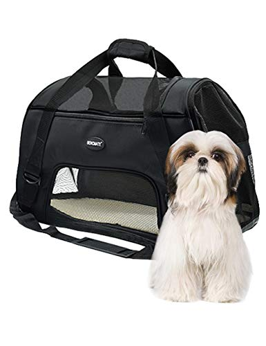 Bencmate Dog Carrier, Soft Travel Collapsible Pet Travel Carrier with Reinforced Structure and a Sturdy Base Within Comfortable Fleece Padding for Puppies (Large)