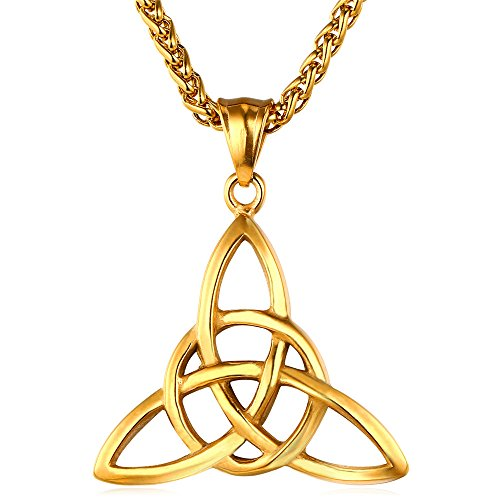 U7 Fashion Women Men Irish Jewelry Stainless Based 18K Gold Plated Celtic Knot Pendant Necklace (Chain 22 Inch) - Gold Plated Celtic Knot