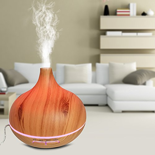 Essential Oil Diffuser 300ml Wood Grain Aromatherapy,Anhao Ultrasonic Cool Mist Humidifier for Office Home study Yoga Spa,Multi-color Lights (Yellow) by Anhao (Image #2)