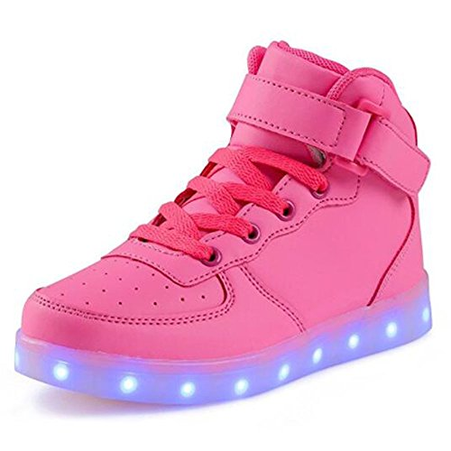 Kids Boy Girl Toddler High Top Led Light Up Flashing Sneakers Shoes shpink25