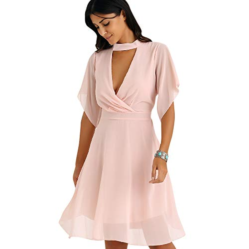 DRESSFO Petal Sleeve Knee Length Summer Chiffon Dresses for Women Chiffon Sexy Dress from DRESSFO