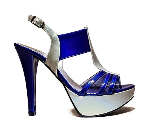 Mujer 2016 Primavera Joel Cuero Azul JO Verano Bombas Plata Tacones Joya Nueva de RPE EL Colección Sandalia de v7wtqS