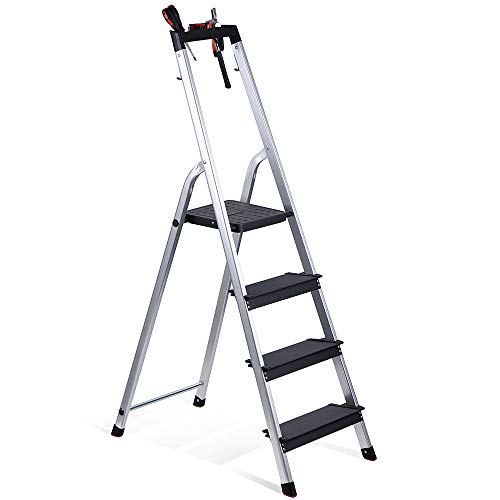 Delxo Lightweight Aluminum 4 Step Ladder with Tool Tray Folding Step Stool Stepladders Home and Kitchen Step Ladder Anti-Slip Sturdy and Wide Pedal Ladders 330lbs Capacity Space Saving (4 feet)