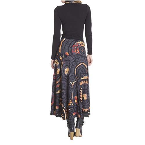 Rouille imprime Gris XL LE Jersey ORANGE Femme Coton Noir MOON Longue Jupe de L gXq8wY