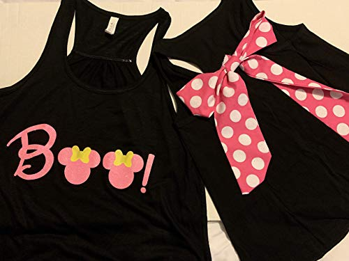 Handmade Disney Halloween Shirt with Bow on Back Minnie Boo with Pink And White Polka Dot Bow]()