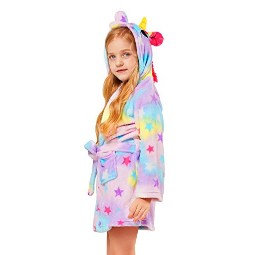 NOUSION Children's Unisex Hooded Bathrobes, Nightgown Flannel Pajamas Robe Unicorn Boys Girls Sleepwear -