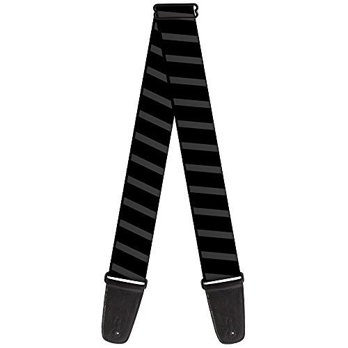 (Buckle-Down Guitar Strap - Diagonal Stripes Black/Gray - 2