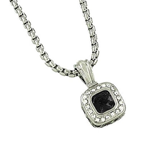 David Yurman Inspired Necklaces - CFG ONLINE Square Jet CZ Pendant Necklace/Standard 16