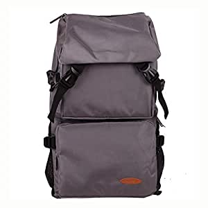 Casual Mountaineering Outdoor Waterproof Large Capacity Travel Bag Multi Function Pockets Durable Travel Anti Theft Backpack Rucksack Camping Hiking L-0919 (Color : Gray, Size : 52cm*30cm*16cm)