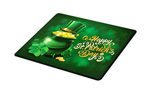- Ambesonne St. Patrick's Day Cutting Board, Large Pot of Gold Leprechaun Hat Shamrocks Greetings 17th March, Decorative Tempered Glass Cutting and Serving Board, Large Size, Gold Emerald