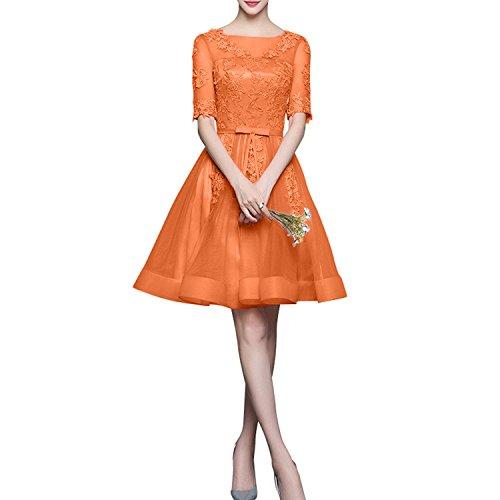 Orange Lang Tanzenkleider Damen Cocktailkleider Mini Partykleider Dunkel mit Aermel Schnuerung Rosa Charmant HtxPUnZH