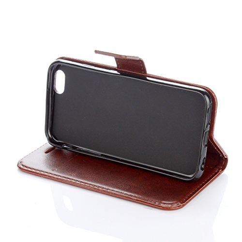 Para Smartphone Apple Iphone 6(4.7pulgadas) Carcasa, Piel Funda para Apple iPhone 6(4.7pulgadas) Flip Cover Funda Libro Con Tarjetero Función Atril magnético + Polvo Conector rosa 6 8
